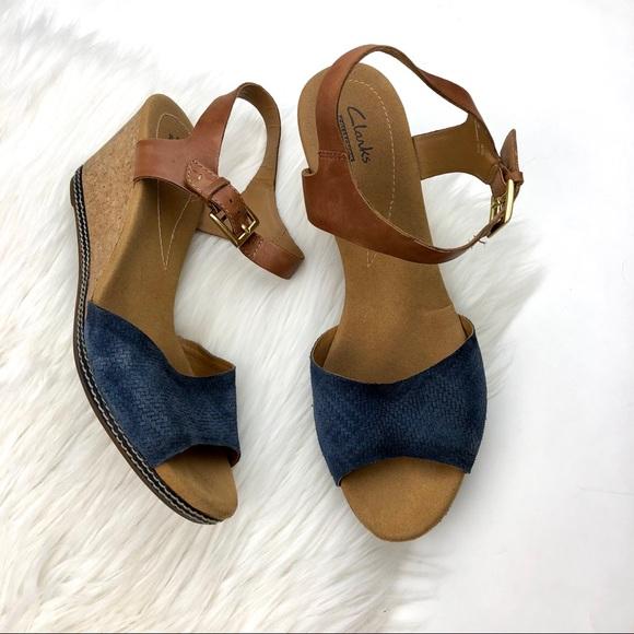 6874d5e9e47 Clarks Shoes - CLARKS Helio Jet Wedge Blue